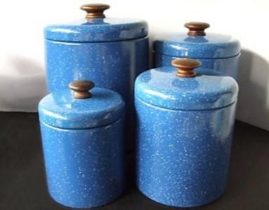 enamelware storage jars