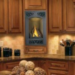 fireplace insert in a kitchen