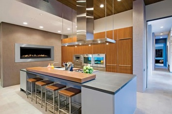 modern kitchen fireplace insert