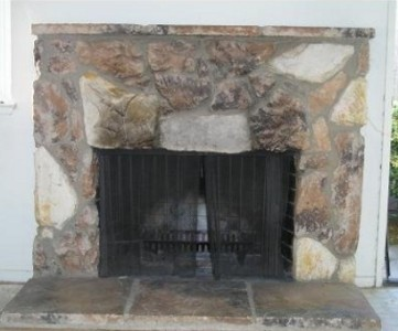 fireplace before renovation